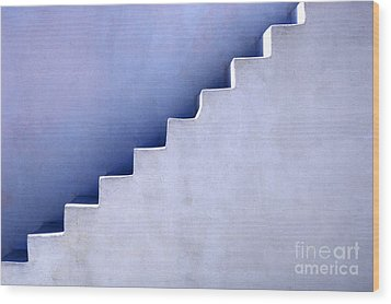 Stairs In Santorini Wood Print by Bob Christopher