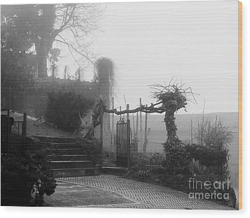 Stairs In The Fog Wood Print