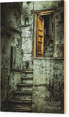 Stairs Leading To The Old Door Wood Print by Catherine Arnas