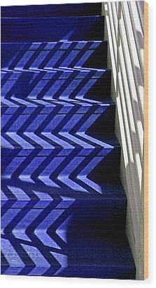 Stairs Of Blue Wood Print by Christopher McKenzie