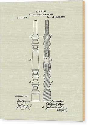 Stairway Baluster 1876 Patent Art Wood Print by Prior Art Design