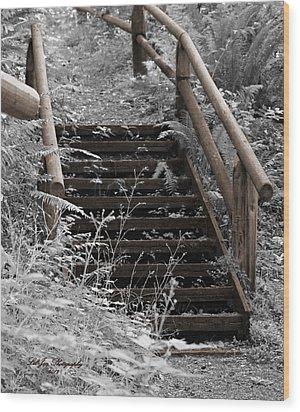 Stairway Home Wood Print by Jeanette C Landstrom