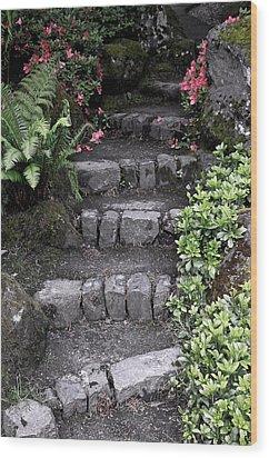 Stairway Path To Gardens Wood Print by Athena Mckinzie