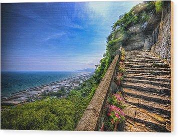 Stairway Temple Wood Print by John Swartz