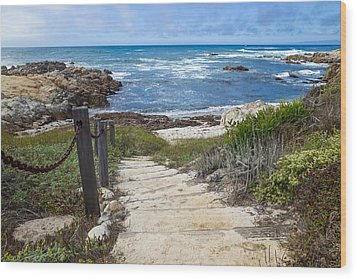 Stairway To Asilomar State Beach Wood Print
