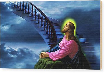 Wood Print featuring the digital art Stairway To Heaven by Karen Showell