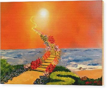 Wood Print featuring the painting Stairway To Heaven by Michael Rucker