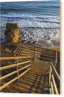 Wood Print featuring the photograph Steps To Blue Ocean And Rocky Beach by Jerry Cowart