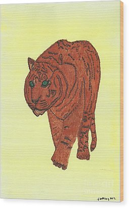 Wood Print featuring the painting Stalking Tiger by Tracey Williams