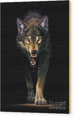 Stalking Wolf Wood Print by MGL Studio - Chris Hiett
