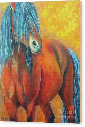 Wood Print featuring the painting Stallions Concerto  by Alison Caltrider