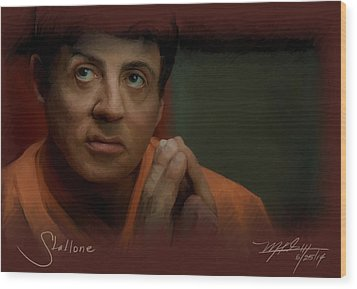 Stallone Wood Print by Mark Gallegos