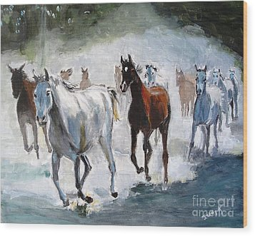 Wood Print featuring the painting Stampede by Judy Kay