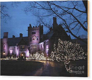 Stan Hywet Hall And Gardens Christmas  Wood Print by Joan  Minchak