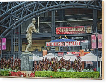 Stan Musial Statue At Busch Stadium St Louis Mo Wood Print