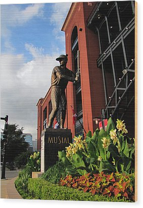 Stan Musial Statue Wood Print
