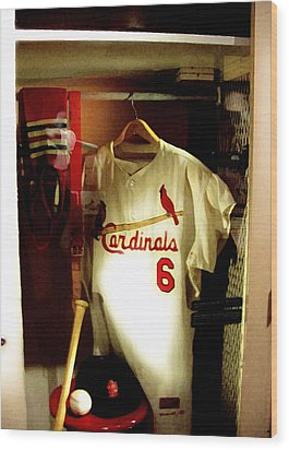 Stan The Man's Locker Stan Musial Wood Print by Iconic Images Art Gallery David Pucciarelli