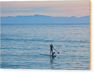 Wood Print featuring the photograph Stand Up Paddle Surfing In Santa Barbara Bay California by Ram Vasudev