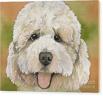 Standard White Poodle Dog Watercolor Wood Print by Cherilynn Wood