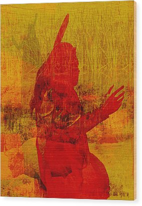 Standing Bear Park Abstract Collage Wood Print by Ann Powell