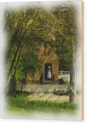 Standing In The Doorway Wood Print