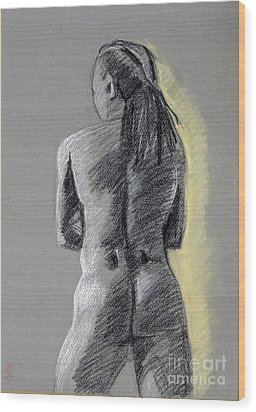 Standing Male Back Wood Print