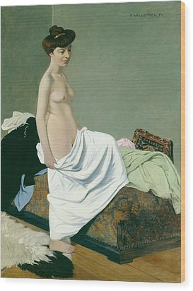 Standing Nude Holding A Gown On Her Knee Wood Print by Felix Edouard Vallotton
