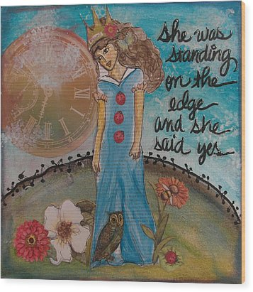 Standing On The Edge Of Destiny Wood Print by Debbie Hornsby