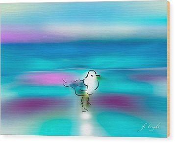 Wood Print featuring the mixed media Standing Seagull by Frank Bright