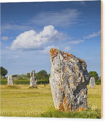 Standing Stones Lagatjar Camaret Sur Mer Brittany France Wood Print by Colin and Linda McKie