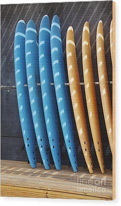 Standing Surf Boards Wood Print by Carlos Caetano