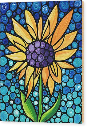Standing Tall - Sunflower Art By Sharon Cummings Wood Print by Sharon Cummings