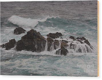 Standing Up To The Waves Wood Print by Suzanne Luft