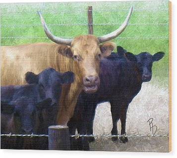 Standout Steer Wood Print by Ric Darrell