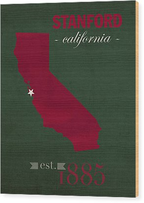 Stanford University Cardinal Stanford California College Town State Map Poster Series No 100 Wood Print by Design Turnpike