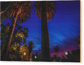 Stanford University Memorial Church At Sunset Wood Print by Scott McGuire