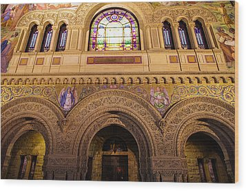 Stanford University Memorial Church Close Up Wood Print by Scott McGuire
