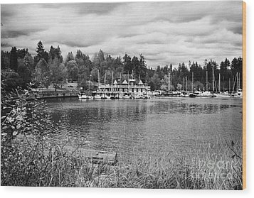 stanley park coal harbour and Vancouver rowing club marina BC Canada Wood Print by Joe Fox