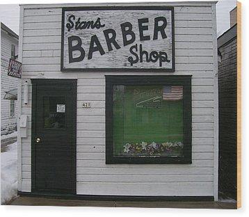 Wood Print featuring the photograph Stans Barber Shop Menominee by Jonathon Hansen