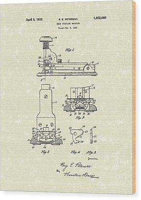 Stapler 1932 Patent Art Wood Print by Prior Art Design