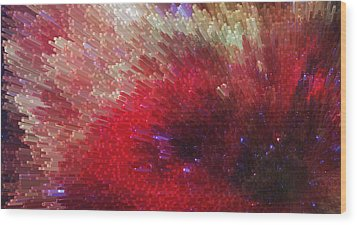 Star Burst - Red Abstract Art By Sharon Cummings Wood Print by Sharon Cummings