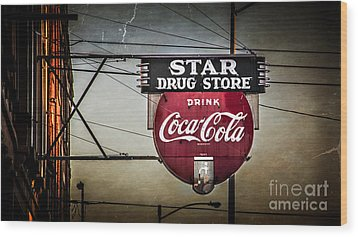 Star Drug Store 2 Wood Print by Perry Webster