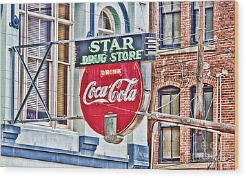 Star Drug Store - Hdr Neon Sign Wood Print by Scott Pellegrin
