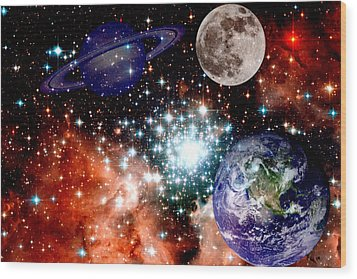 Star Field With Planets Wood Print