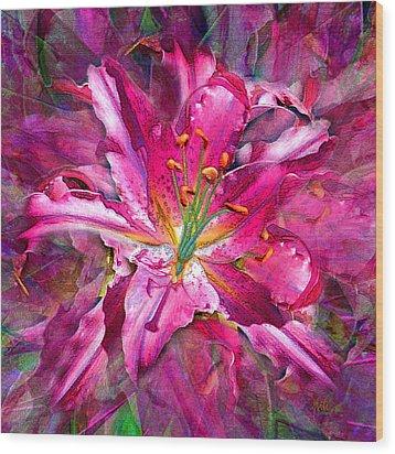 Star Gazing Stargazer Lily Wood Print by Michele Avanti