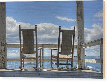 Star Island Rocking Chairs Wood Print