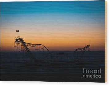 Star Jet Roller Coaster Silhouette  Wood Print by Michael Ver Sprill