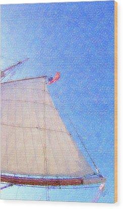 Star Of India. Flag And Sail Wood Print by Ben and Raisa Gertsberg