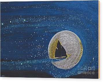 Star Sailing By Jrr Wood Print by First Star Art
