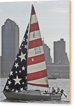 Wood Print featuring the photograph Star Spangled Sail  by Lilliana Mendez